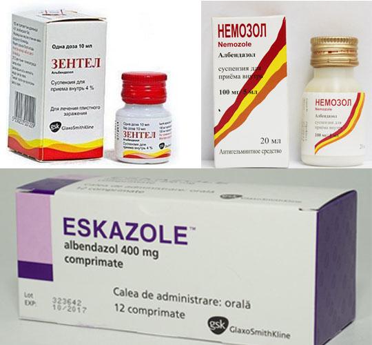 Зентель, андазол, немозол, эсказол